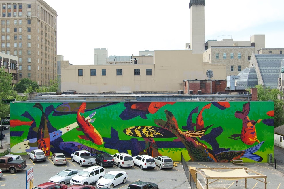 Koi Mural in Downtown Little Rock AR by Matt McLeod